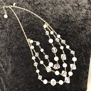 Kate Spade 3 strand chunky clear white gold long